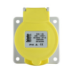 Image for Defender 32A Panel Socket - Yellow - Display Packed 110V