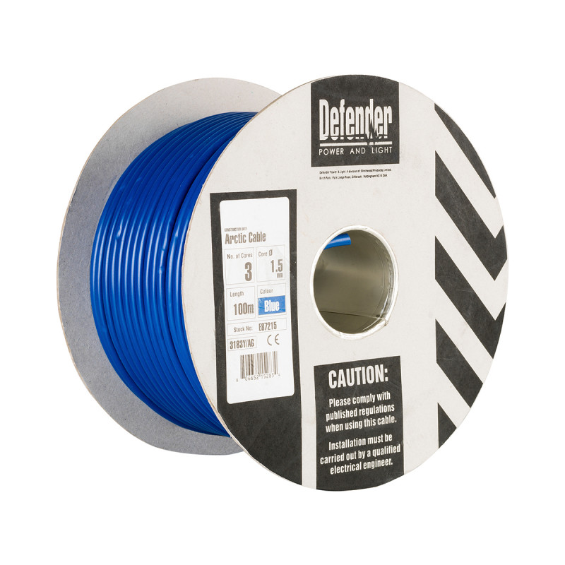 Image for Defender 100M Drum - 1.5mm 3 Core Blue HO5 VV-F Cable 240V