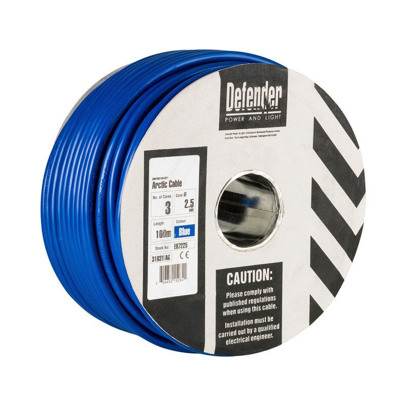 Image for Defender 100M Drum - 2.5mm 3 Core Blue HO5 VV-F Cable 240V