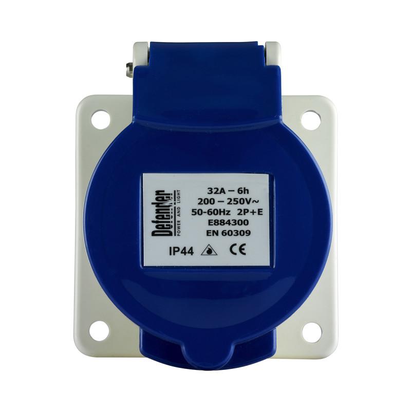 Image for Defender 32A Panel Socket - Blue 230V