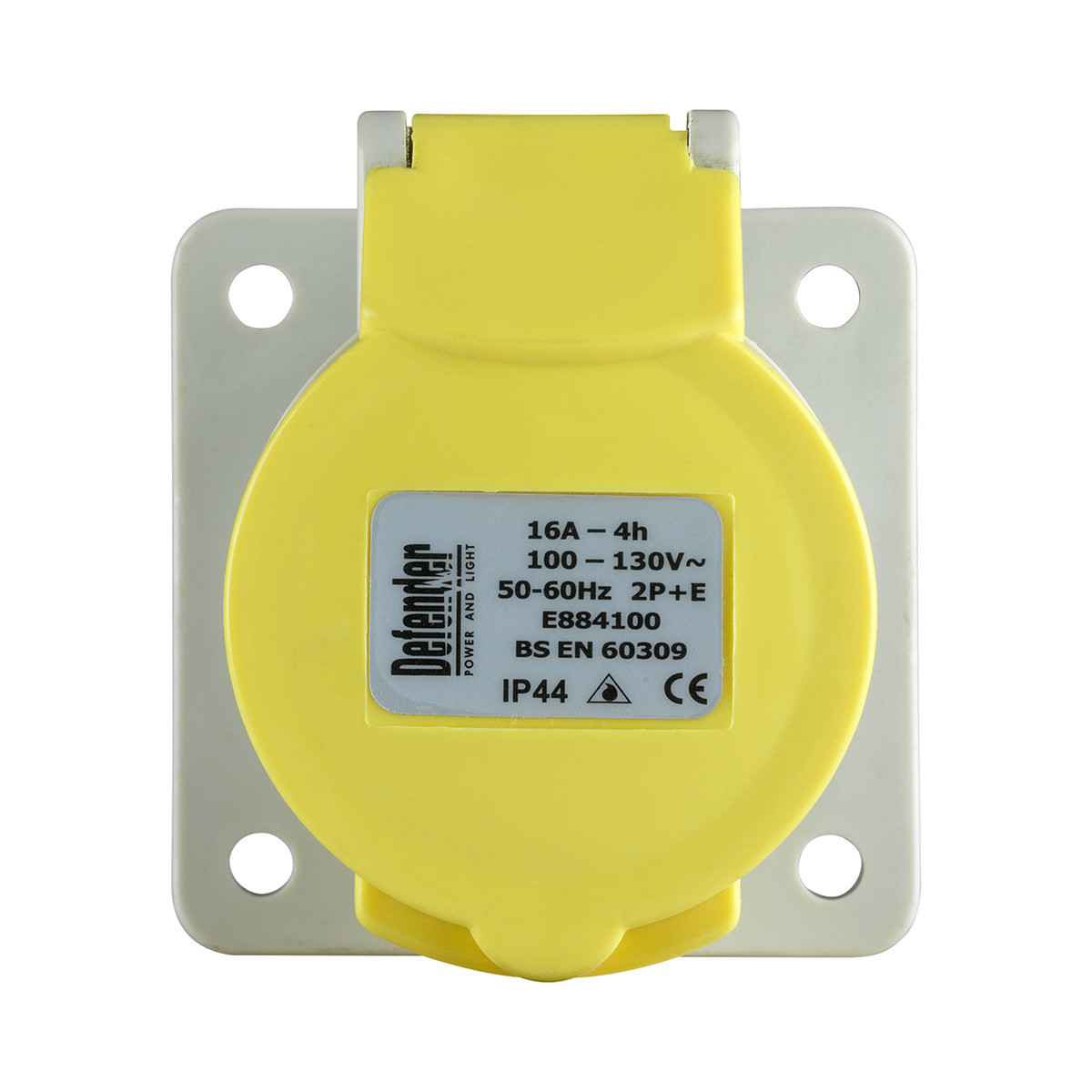 Defender 16A Panel Socket - Yellow - Display Packed 110V