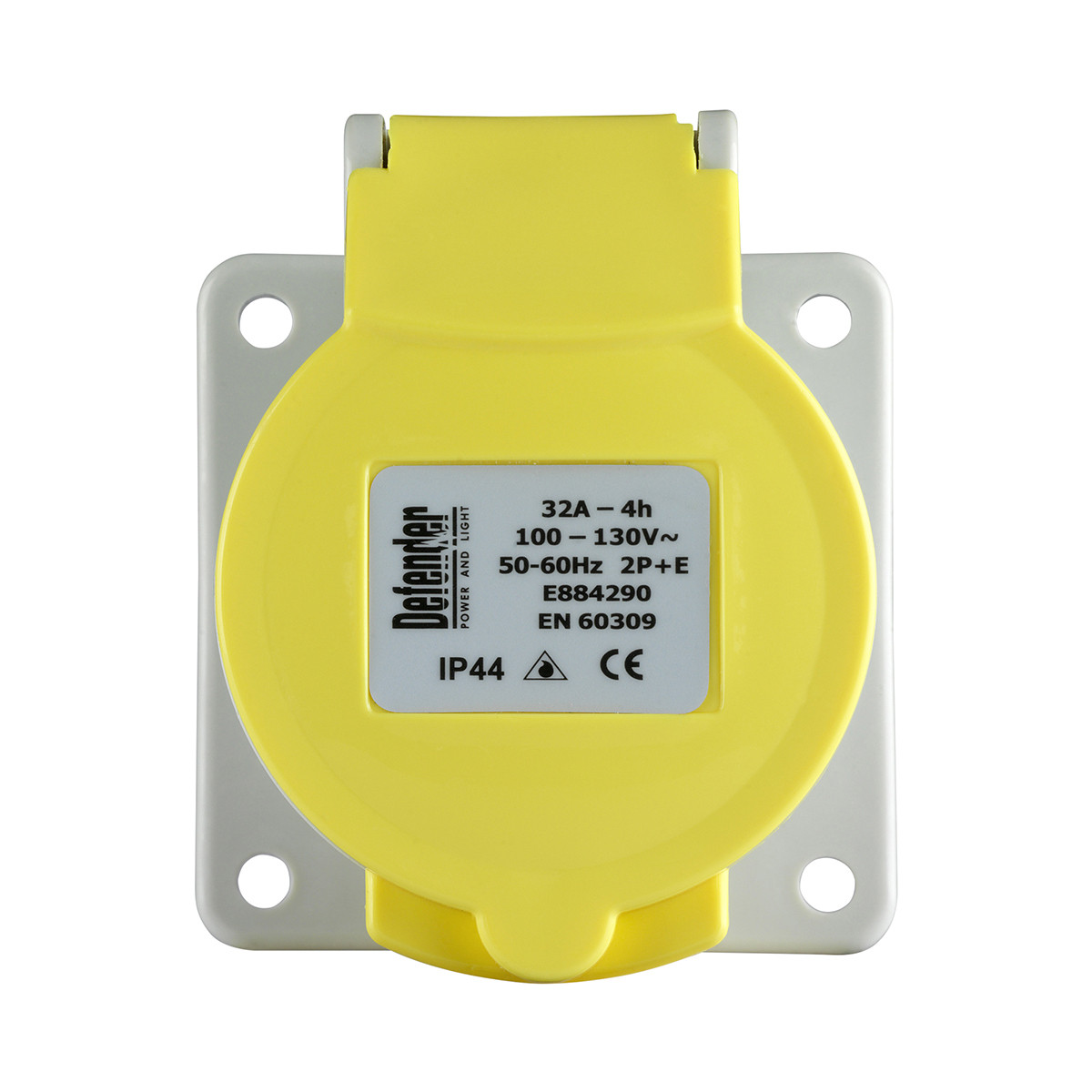 Defender 32A Panel Socket - Yellow - Display Packed 110V