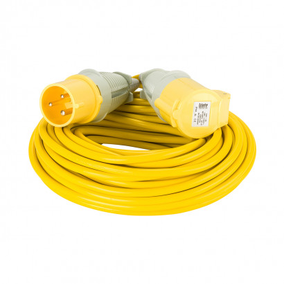 Image for Defender 25M Extension Lead - 32A 2.5mm Cable - Yellow 110V