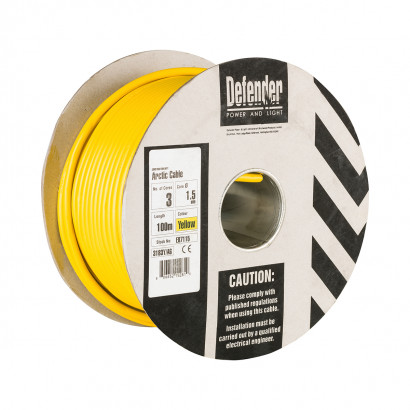 Image for Defender 100M Drum - 1.5mm 3 Core Yellow HO5 VV-F Cable 110V