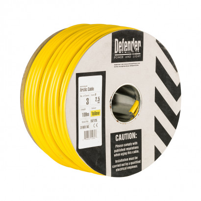 Image for Defender 100M Drum - 2.5mm 3 Core Yellow HO5 VV-F Cable 110V