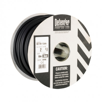 Image for Defender 50M Drum - 2.5mm 2 Core Black Rubber HO7 RN-F Cable